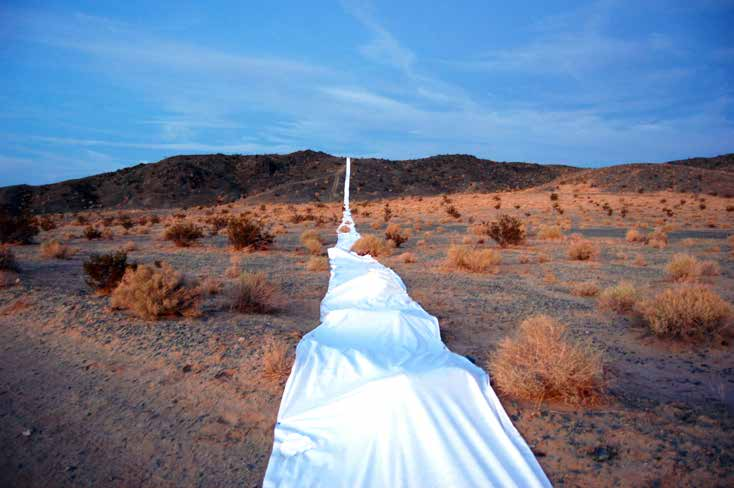 RO/LU with WELCOMPROJECTS, Here There, There Here, 2011 2mile x 5ft line made from synthetic felt for High Desert Test Sites, Joshua Tree, CA