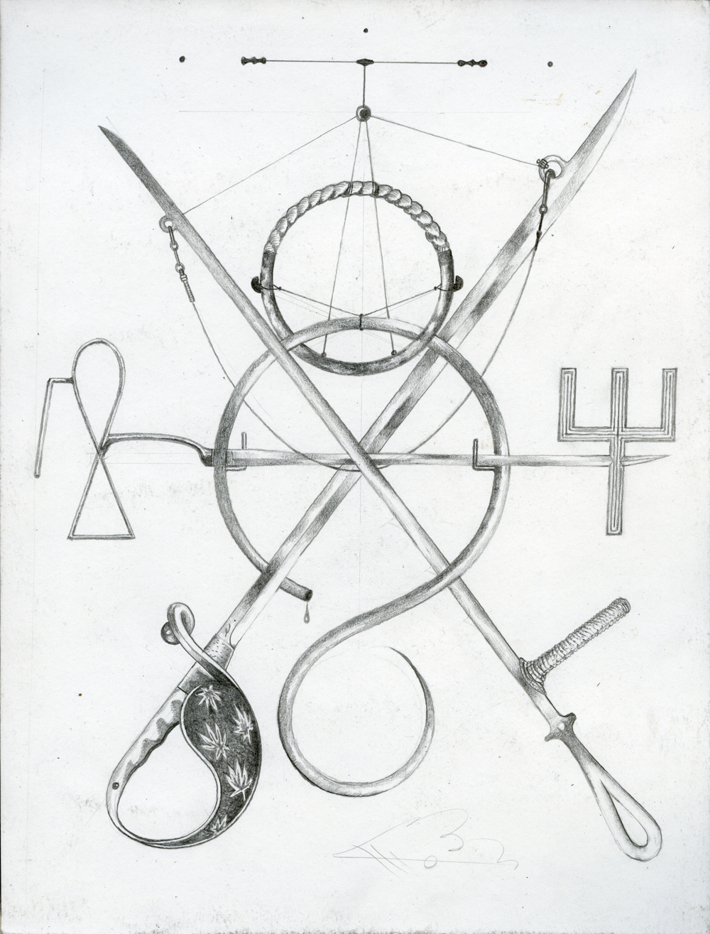 Eric Timothy Carlson, Key Glyph Sigil in Rope and Alloy, 2014