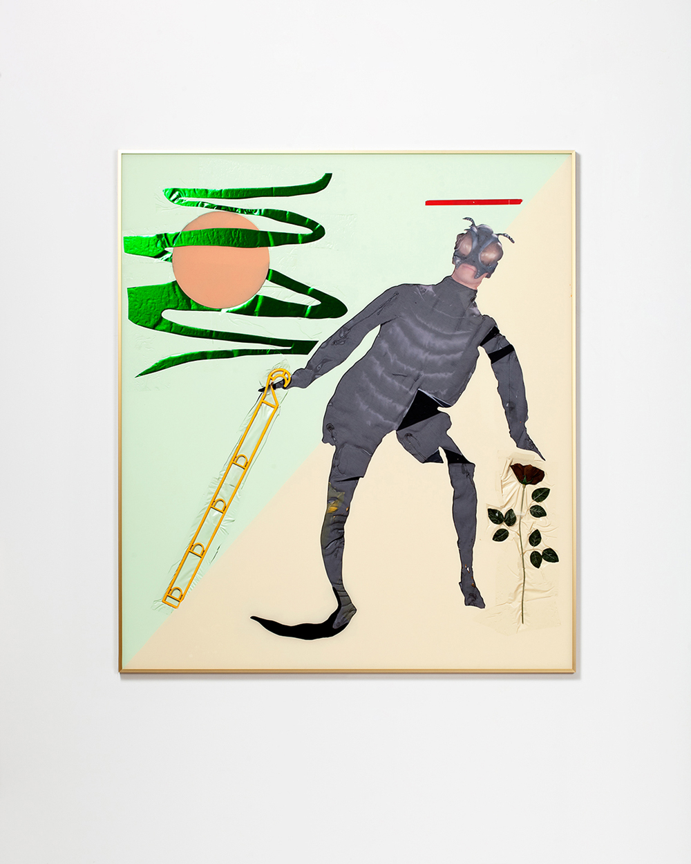 Alex Da Corte, Untitled (The Fly / The Wayfarer (from the Ship of Fools)), 2014 Anodized metal frame, plexiglas, sheer nylon, contact paper, spray paint, vinyl, electrical tape, plastic hook, silk rose, foil paper, sequin pins, foam, velvet 56 × 64 inches