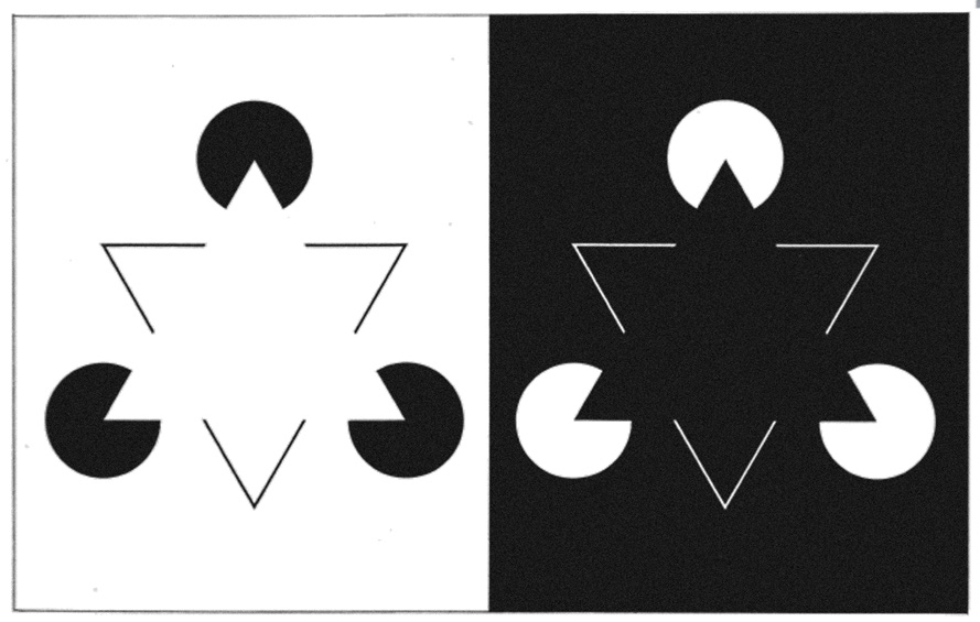 Subjective contour triangle illusion. Gaetano Kanizsa, 1955