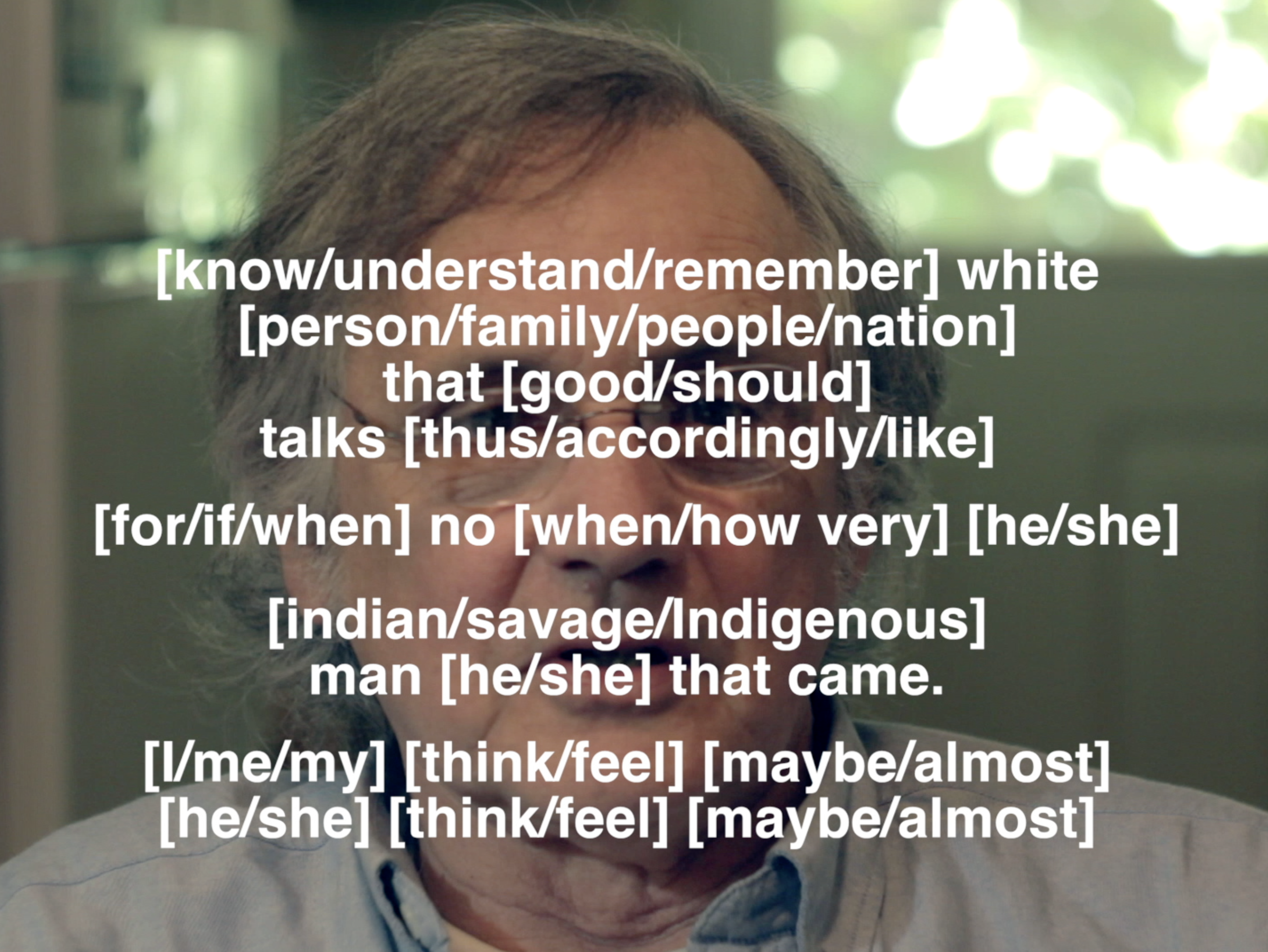Sky Hopinka, Henry Zenk under layers of subtitles with translation choices. Still from wawa (2014)